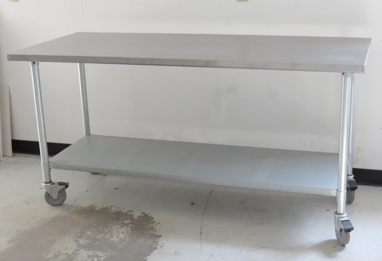 Lab Equipment : Jimex Corp Model EWT 3072 NSF Stainless Steel Work Table  With Wheels